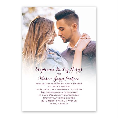 Sweet and Simple Invitation with Free Response Postcard