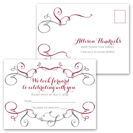 Swirling Beauty - Invitation with Free Response Postcard