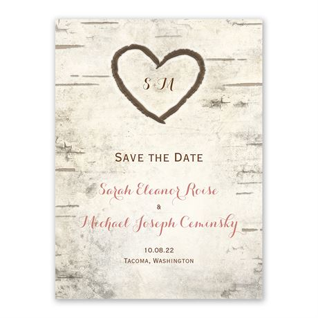 Birch Tree Carvings Save The Date