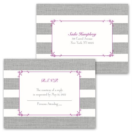 Bold Stripes - Invitation with Free Response Postcard