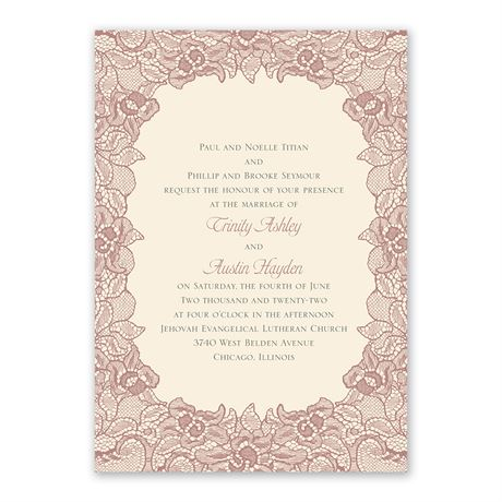 Lace Embrace Invitation with Free Response Postcard