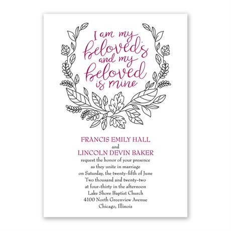 My Beloved - Invitation with Free Response Postcard