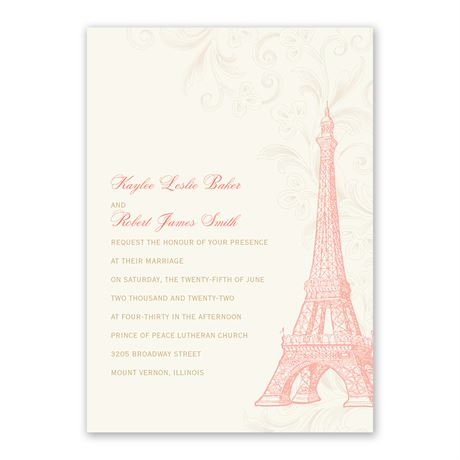 Eiffel Tower Invitation with Free Response Postcard