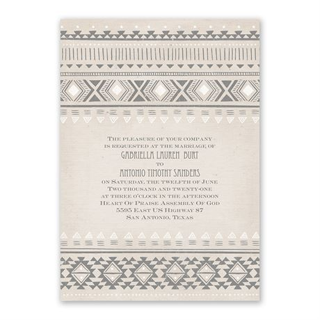 Aztec Style - Invitation with Free Response Postcard