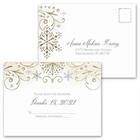 Winter Sparkle - Invitation with Free Response Postcard