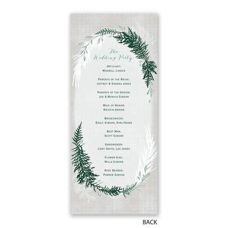 Sweet Evergreens - Wedding Program