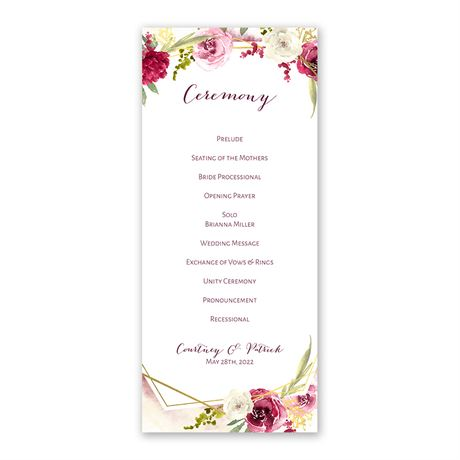 Geo Rose - Wedding Program