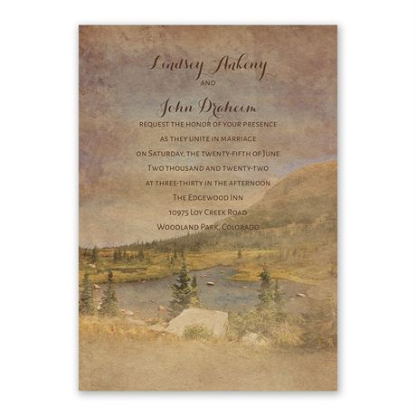 In the Mountains Invitation with Free Response Postcard