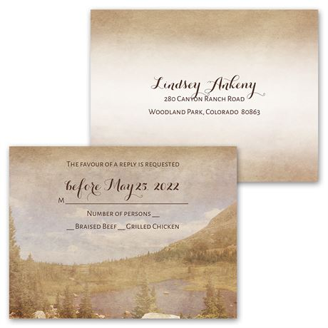 In the Mountains - Invitation with Free Response Postcard