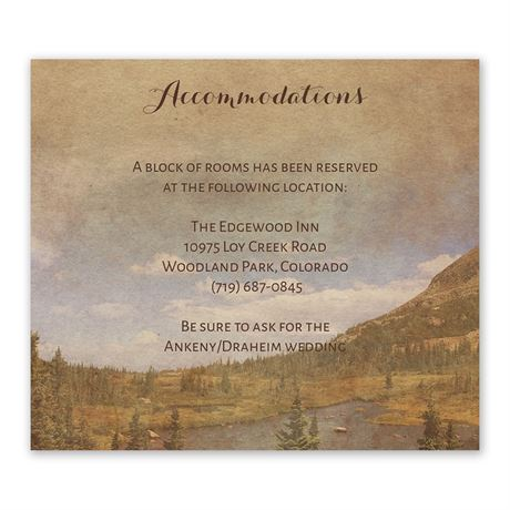 In the Mountains - Information Card