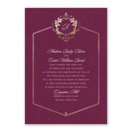 Royal Monogram Invitation with Free Response Postcard