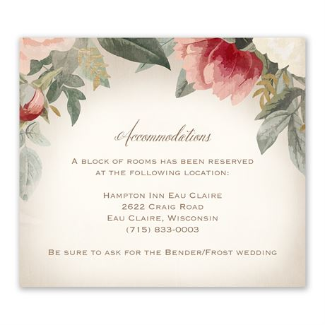 Blush Floral Information Card