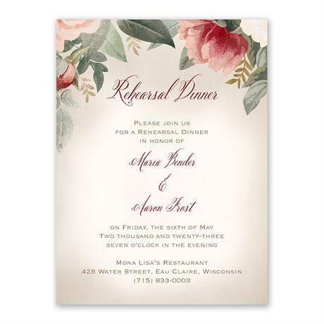 Blush Floral Rehearsal Dinner Invitation