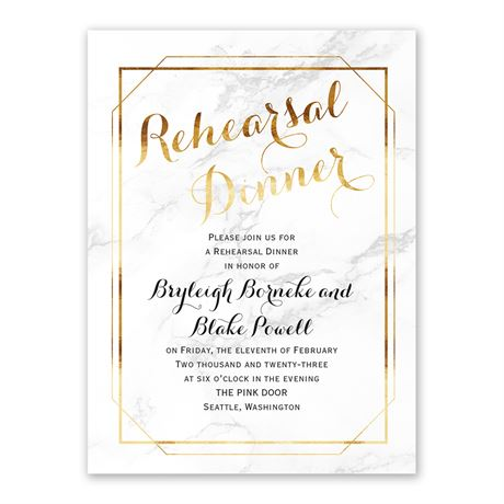 Marble Frame Rehearsal Dinner Invitation