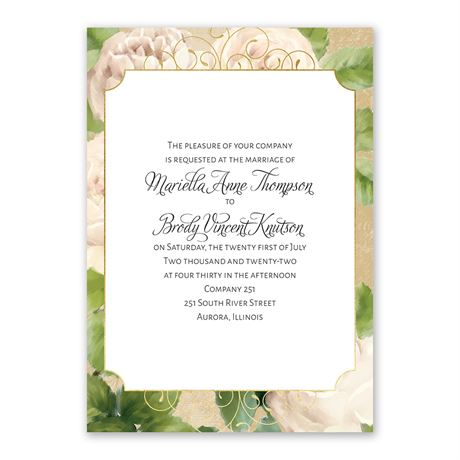 Peony Dream - Invitation with Free Response Postcard