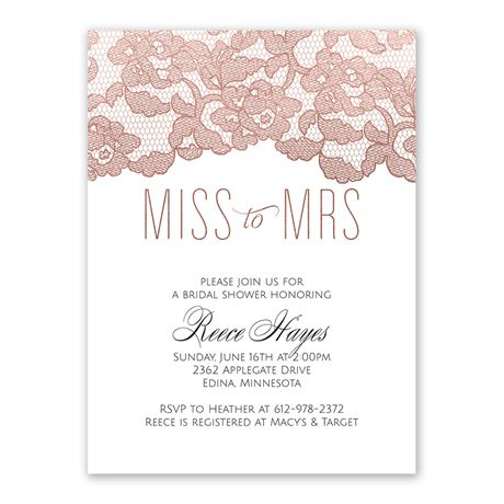 Rose Gold Lace - Bridal Shower Invitation