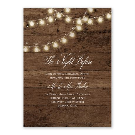 Rustic Glow Rehearsal Dinner Invitation