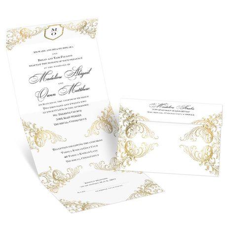 Gold Flourish - Seal and Send Invitation