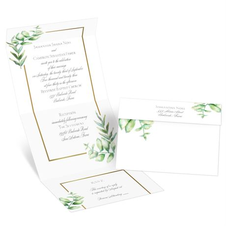 Watercolor Greenery Seal and Send Invitation
