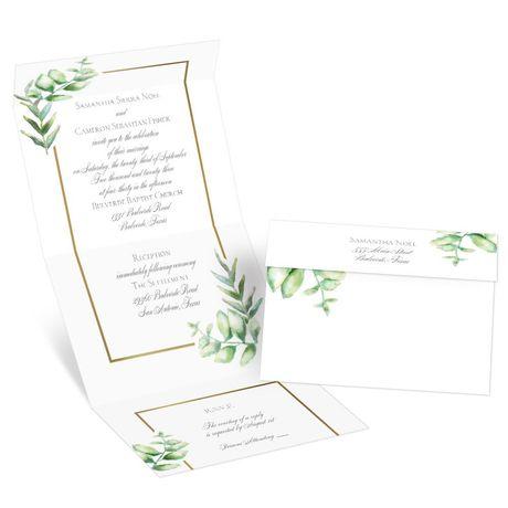 Watercolor Greenery Seal and Send Invitation