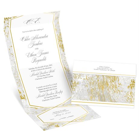 Gold Marble Seal and Send Invitation