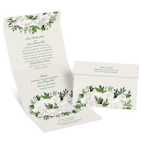 Lush Gardenias Seal and Send Invitation
