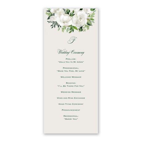 Lush Gardenias - Wedding Program