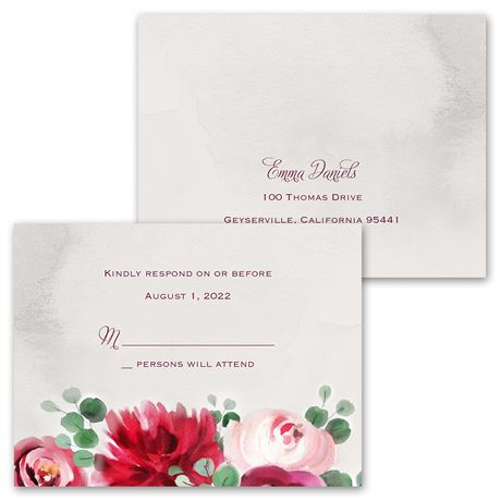 Burgundy Botanic - Invitation with Free Response Postcard