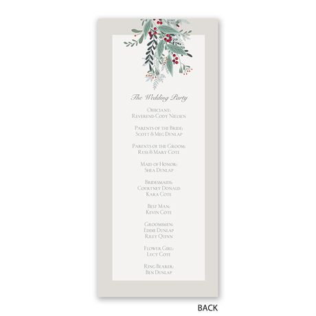 Under the Mistletoe - Wedding Program