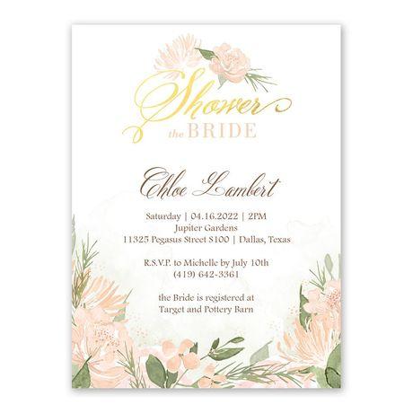 Pretty In Peach Bridal Shower Invitation