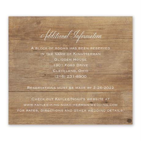 Rustic Photo Information Card