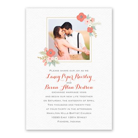 Pretty Posies - Invitation with Free Response Postcard