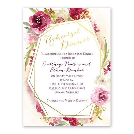 Geo Rose Rehearsal Dinner Invitation