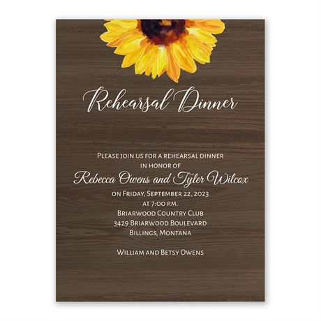 Country Sunflowers Rehearsal Dinner Invitation