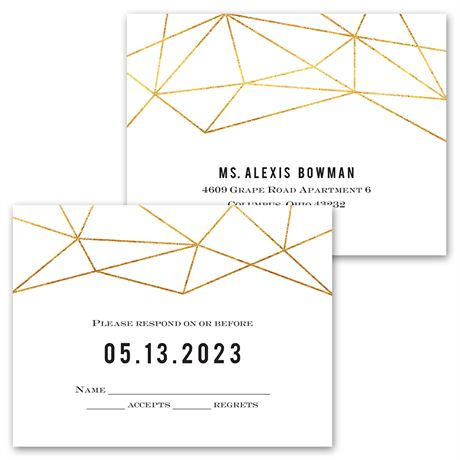 Gold Facets - Invitation with Free Response Postcard