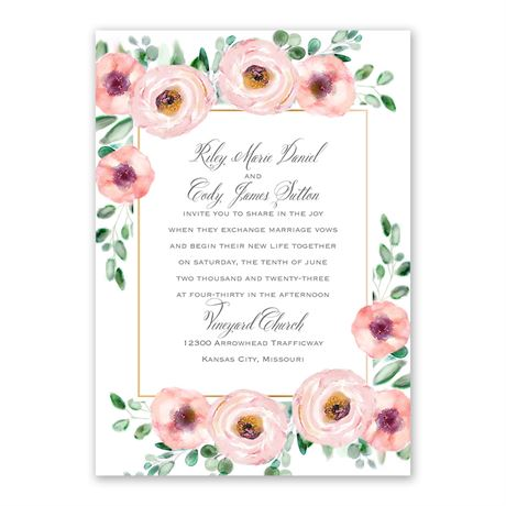 Love Blooms Invitation with Free Response Postcard
