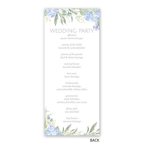 Blue Hydrangea - Wedding Program