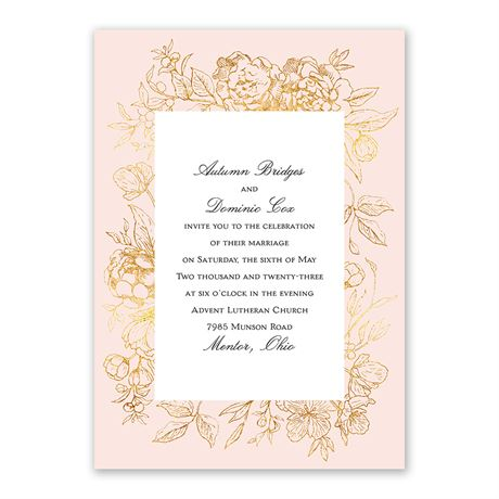 Gilded Garden - Invitation with Free Response Postcard