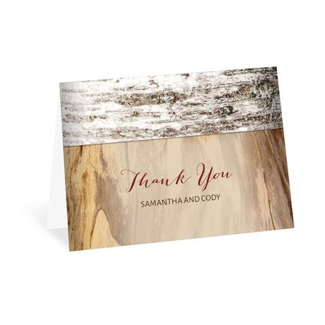 Carved Birch Thank You Card