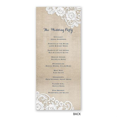 Burlap and Lace Frame - Wedding Program