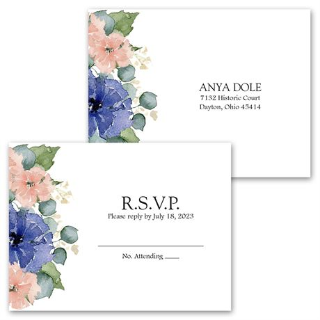 Painted Blooms - Invitation with Free Response Postcard