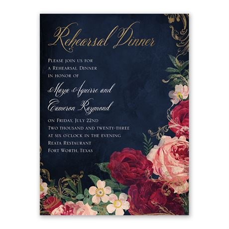 Florals and Flourishes Rehearsal Dinner Invitation