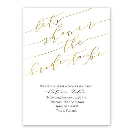 Gold Script Bridal Shower Invitation