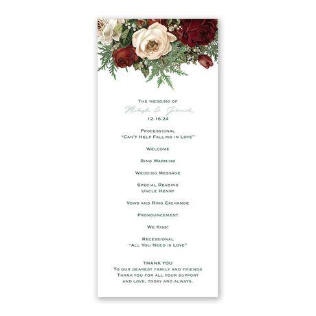 Winter Blooms Wedding Program