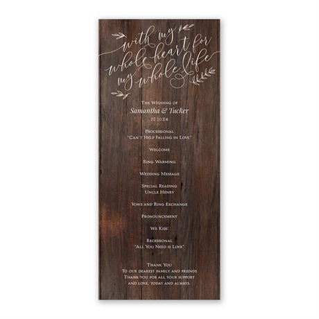 Rustic Romance Wedding Program