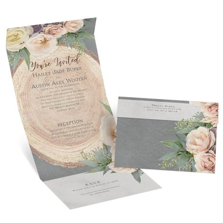 Woodland Rose - Seal and Send Invitation