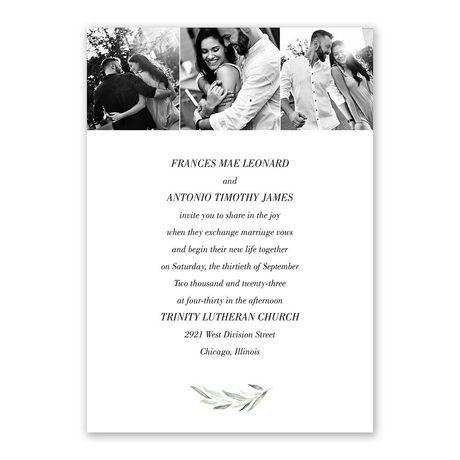Minimalist Greenery Invitation with Free Response Postcard