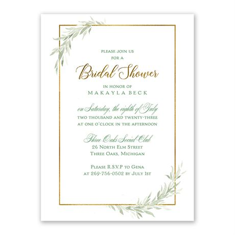 Greens and Gold - Bridal Shower Invitation