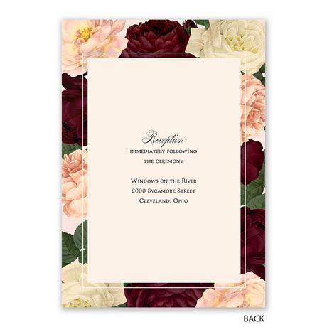 Vintage Blooms - Invitation with Free Response Postcard