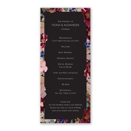 Striking Floral Wedding Program